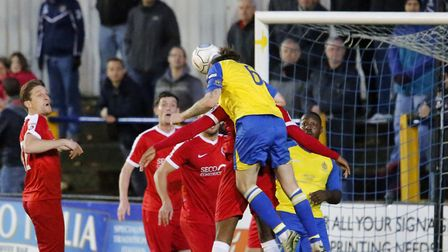 Tom Bender rises the highest but is unable to get the ball into the net. Picture: LEIGH PAGE