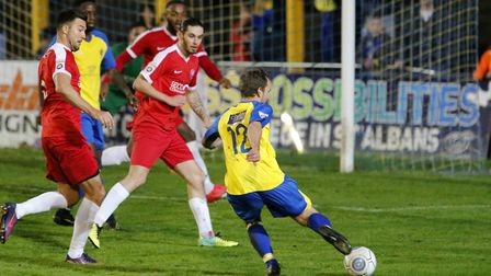 Sam Merson crosses for Nathan Pinney's consolation goal. Picture: LEIGH PAGE
