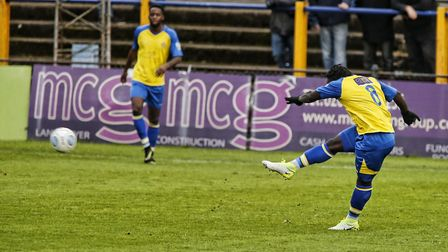 Solomon Sambou blasts the ball towards goal. Picture: LEIGH PAGE