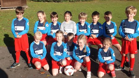 Children from Barley and Barkway first schools in their new football kit. Picture: Barley First Scho