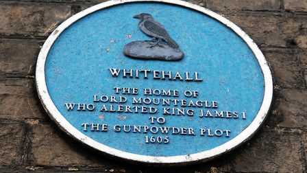 Plaque on the former home of Lord Mounteagle on London Road, Royston, who alerted King James I to th