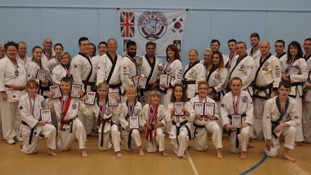 Huntingdon & St Ives Tang Soo Do member who took part in the European Championships are, back row, l