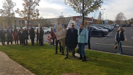 Parents belonging to the Save Nascot Lawn group protesting at Herts Valleys Clinical Commissioning G