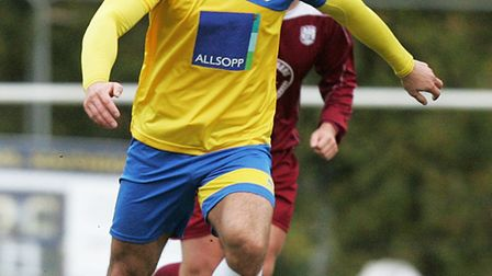 Tom Collin was used in a makeshift defence for Harpenden Town.Picture: KARYN HADDON