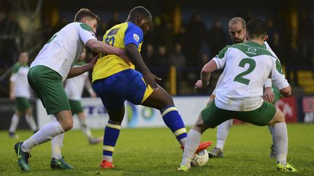 Nathan Pinney shields the ball. Picture: BOB WALKLEY