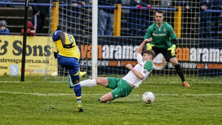 Solomon Sambou drills the ball towards goal. Picture: LEIGH PAGE