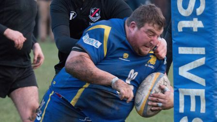 Josh Dear races in for a try during St Ives' victory against Daventry. Picture: PAUL COX
