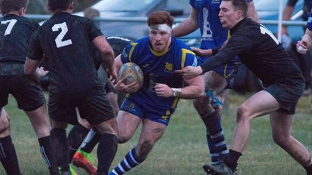 Josh Meadows with the ball as St Ives thrashed Daventry. Picture: PAUL COX