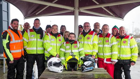 Volunteers from the Suffolk & Cambs Bloodrunners assemble at Caxton Gibbett on a wet December aftern