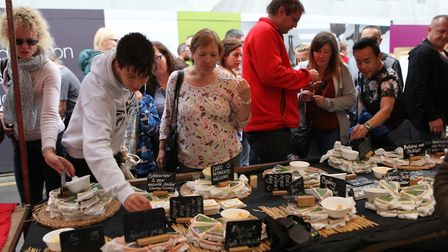 Visitors tried out the free cheese samples at the St Albans Food and Drink Festival 2017 Picture: