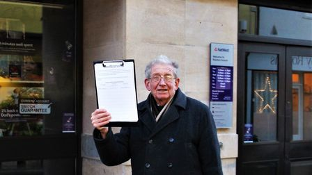 Clive Porter with his petition outside NatWest in Royston. Picture: Clive Porter
