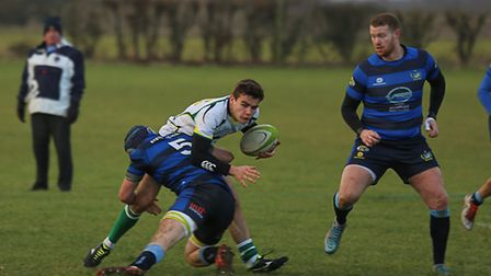 Action from Huntingdon's clash against Syston. Picture: ALLISON REMZI