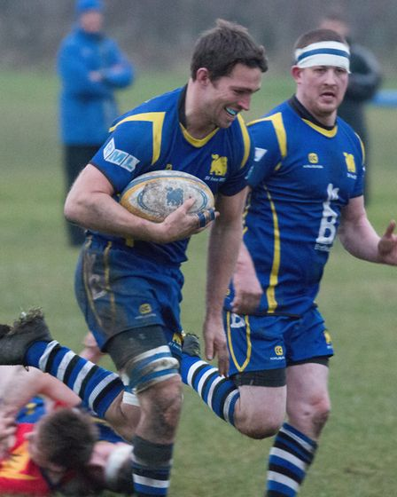 Captain Ollie Bartlett ran in a try for St Ives against Stockwood Park last Saturday. Picture: PAUL
