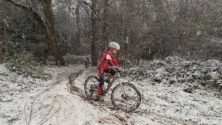 Ruby O'Dell battles through the snow in the 12th round of the Eastern Region League in Ipswich.