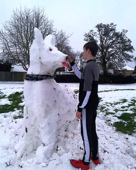 Sam Terry made a snow dog in Brampton. Picture: KEVIN TERRY.