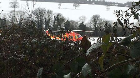 The air ambulance landing in Harpenden. Photo: Jenny Fowler.