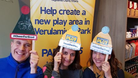 Phil Gallagher (Mister Maker) with Verulamium at Play secretary and trustee Zarrine Dye, and Verulam
