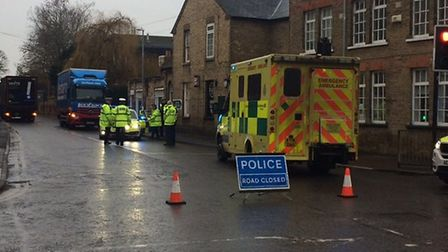 The scene in Huntingdon Street, St Neots. Picture: STE GREENALL