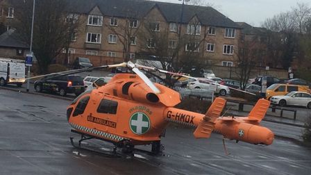 The Magpas air ambulance has landed at the scene, in St Neots. Picture: STE GREENALL.