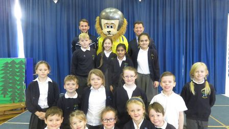 Sammy the Saint with Colney Heath Junior Mixed Infant and Nursery School students. Picture: Lawrence
