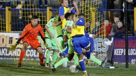 Kieran Monlouis is unable to find a way through a crowded Oxford penalty area. Picture: LEIGH PAGE