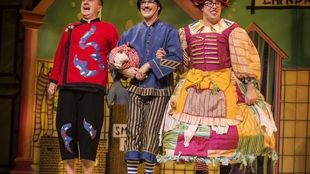 Phil Gallagher, Ian Kirkby and Bob Golding in The Alban Arena's production of Aladdin. [Pictures: Pa
