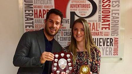 Roundwood Park student Milly Soanes with Jamie Redknapp. Photo: Roundwood Park School.