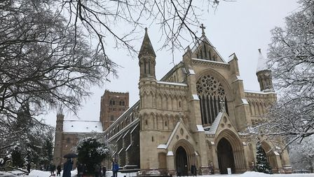 St Albans Cathedral in the snow - photo by Stuart Macer.