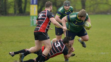 Stags man Steven Chantler attempts to avoid a tackle before being sent off in their defeat to Oundle