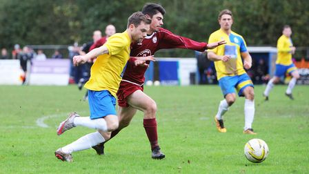 James Ewington's brace fired Harpenden Town to the Dudley Latham Memorial Cup final. Picture: KARYN
