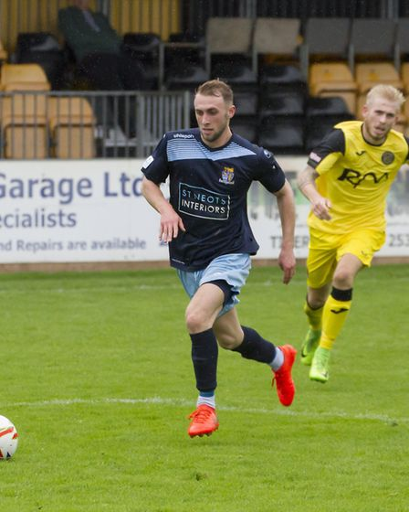 Ryan Horne pictured on the day he hit both St Neots Town goals at Tiverton. Picture: CLAIRE HOWES