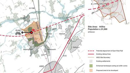 A map in the report, illustrating the area for a potential new town at Bassingbourn. Picture: 5th St