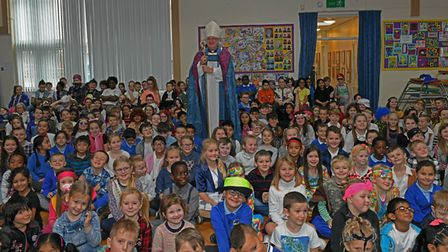 The Bishop of Ely, the Right Reverend Stephen Conway, visited St John's Primary School, in Huntingdo