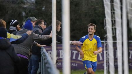 Sam Merson celebrates with the travelling Saints fans. Picture: LEIGH PAGE