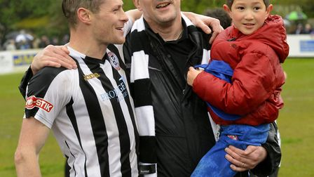 Daniel Moyes (left) was shown a red card for the first time in St Ives Town's defeat to Hitchin.
