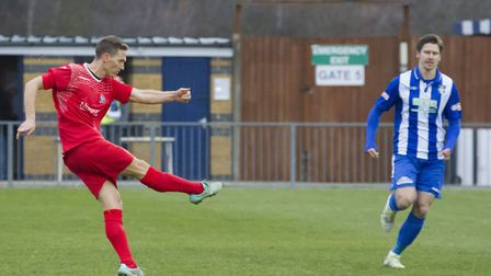David Bridges strikes to put St Neots ahead at Bishop's Stortford. Picture: CLAIRE HOWES