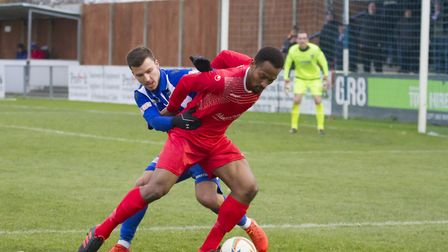 New signing Nabil Shariff hit the winner during his St Neots Town debut. Picture: CLAIRE HOWES