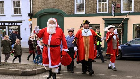 Father Christmas arrives in St Ives as the town's festive celebrations get under way. Picture: ARCHA