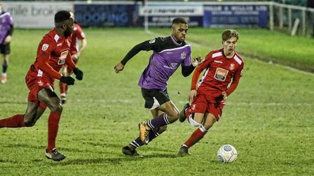 Kieran Monlouis secured the Saints' passage through to the second round of the FA Trophy. Picture: L