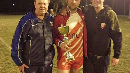 Len McMain and Niall Braniff of St Albans Centurions and Zeljko Delic from Red Star Belgrade with th