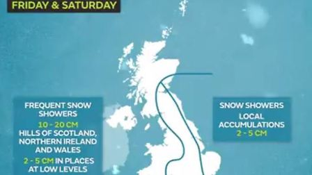 Snow forecast for the UK. Picture: Met Office
