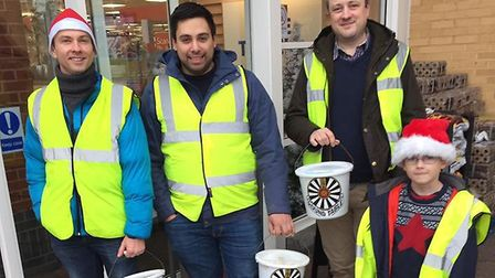 Royston & District Round Table members Nico Proisy and Richard Tydeman with helpers collecting last