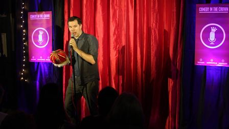 Phil Hawksworth at the Crown charity comedy night.