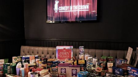 Food donations at The Crown's Comedy Night.