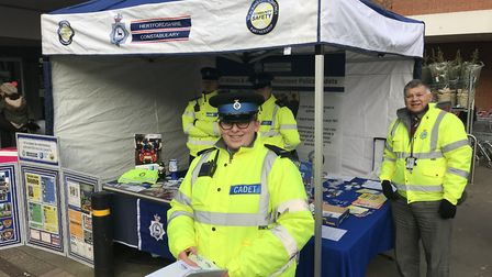 Crime prevention advice at the Christmas market.