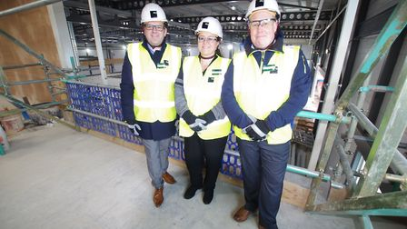 STORE: New Morrrisons manager Paul White (right) withpeople managers Stuart Raison and Sarah Knight