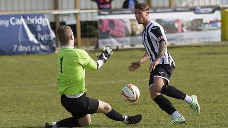 Declan Rogers, seen scoring during his previous St Ives Town spell in 2016, is back with the club. P