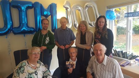 Jim Dargie, centre, at his 100th birthday party with his family in Barley. Picture: Margaret House