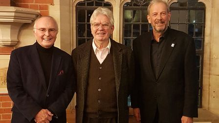 Sir Terry Farrell (middle), with president of the St Albans Civic Society Prof Geraint John and chai