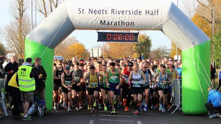 The runners set off in the St Neots Half Marathon. Picture: SALLY JEX